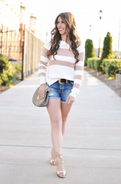 Blush and white, wide striped sweater with light pink strappy sandals