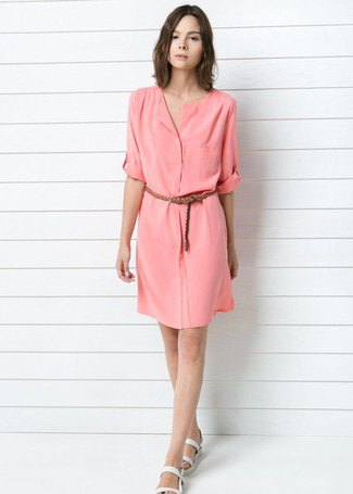 Blush knee-length shirt dress with belt and white slide sandals