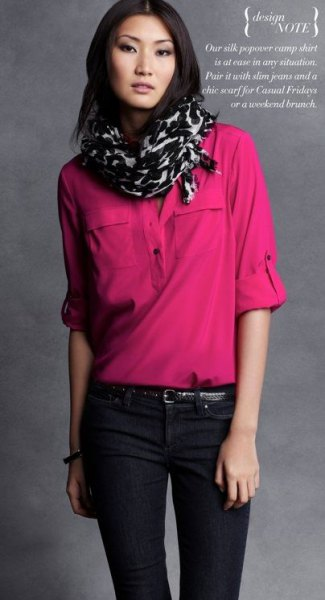 blushing chiffon blouse with half sleeves and a black and white printed scarf