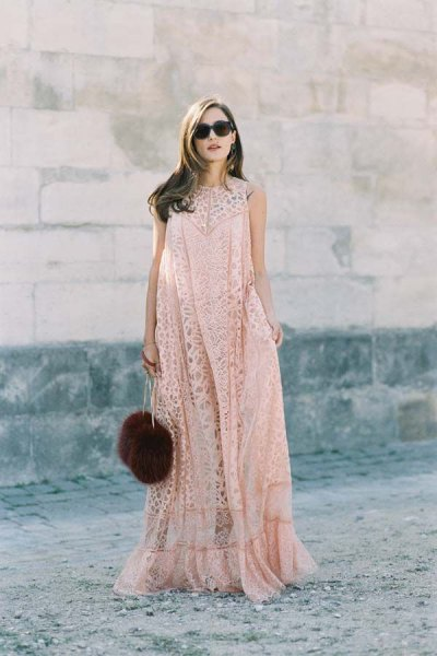Rouge lace flared floor length dress