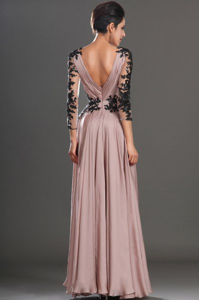 Rouge maxi pleated dress with black lace details