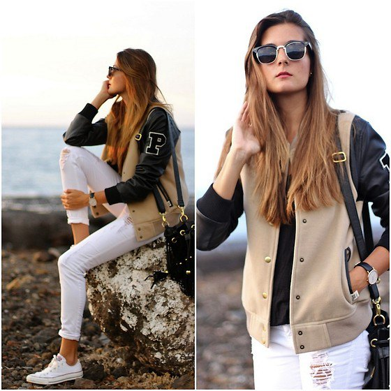 blush pink and black leather two-tone college jacket with white jeans
