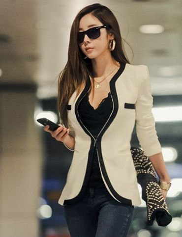 Blush pink and black slim fit blazer with lace camisole