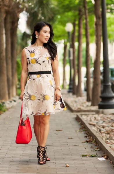Blush a pink and yellow floral print mini dress with heeled sandals