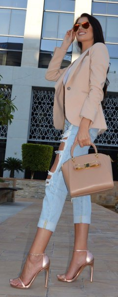 blushing pink blazer with cropped ripped boyfriend jeans