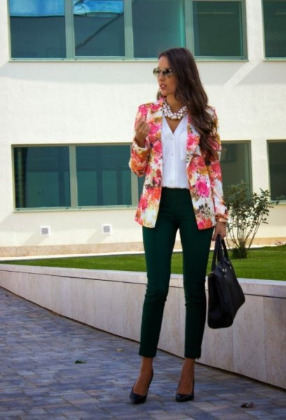Blushing pink blazer with a white linen shirt and black ankle jeans