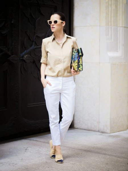 Blush pink button shirt and white slim fit pants