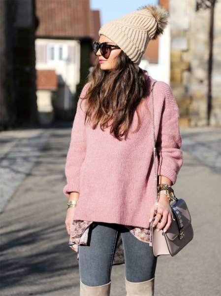 Blush pink cashmere sweater with a knitted hat and over the knee boots