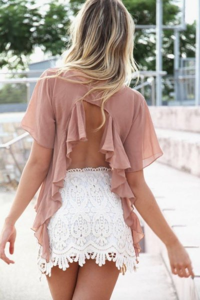 Rouge pink chiffon neckline at the back with white lace mini skirt
