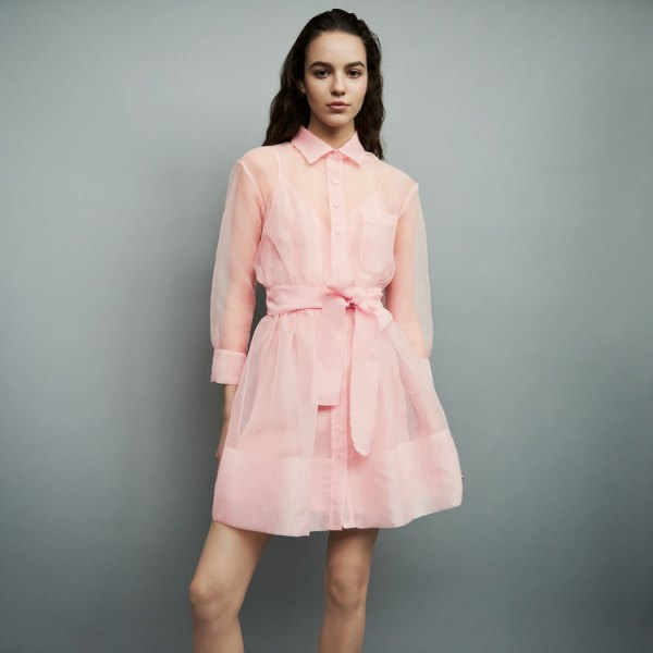 blush pink chiffon semi transparent mini flared shirt dress