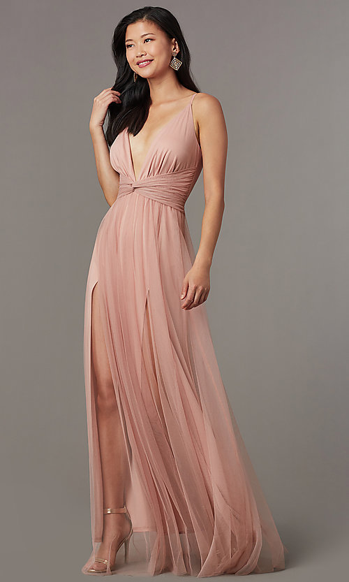 Knotted-Waist Sexy Long Formal Dress in Blush Pi