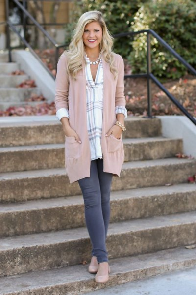 blush pink feather duster sweater with a blue and white checked tunic top