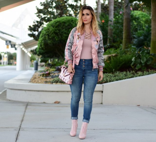 blushing pink embroidered bomber jacket with crossed top