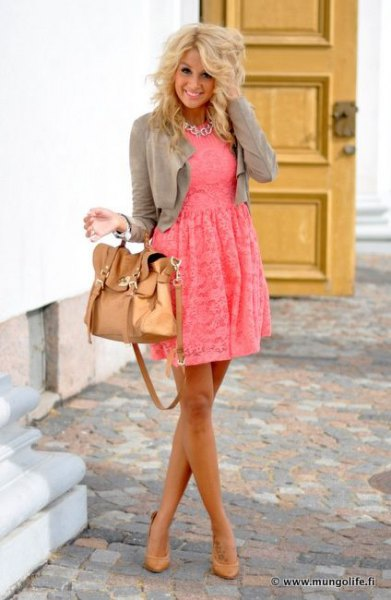 Blush pink fit and flare lace mini dress with gray short jacket