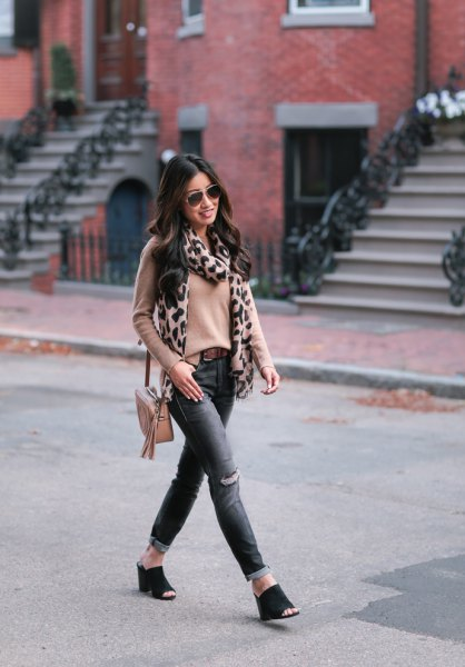 blushing pink fitted sweater with scarf with leopard print