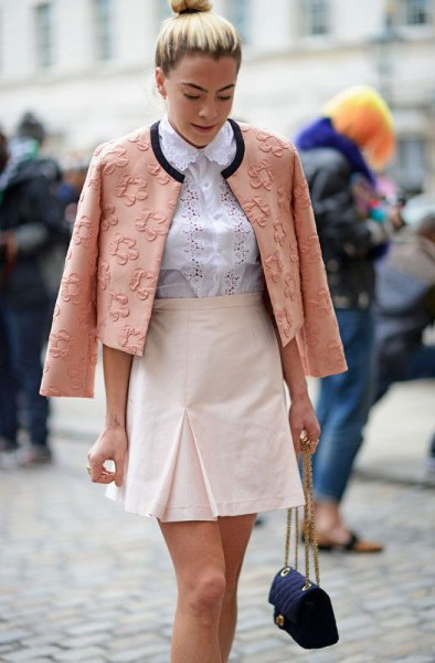 blushing pink floral embroidered blazer and white high waist mini skirt
