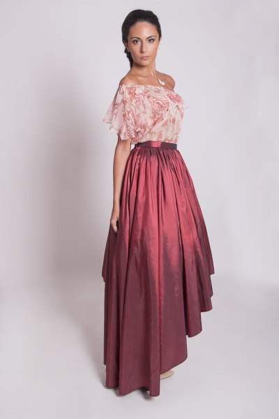 Blush pink floral chiffon off the shoulder with maxi taffeta skirt
