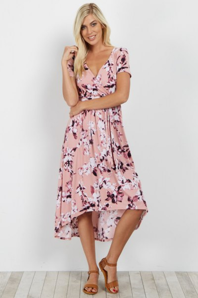blush pink midi flared wrap dress with floral pattern