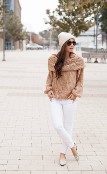 blush pink pleated shoulder boat knit boat sweater