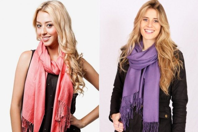 Blushing pink pashmina scarf with fringes and black chiffon strap dress