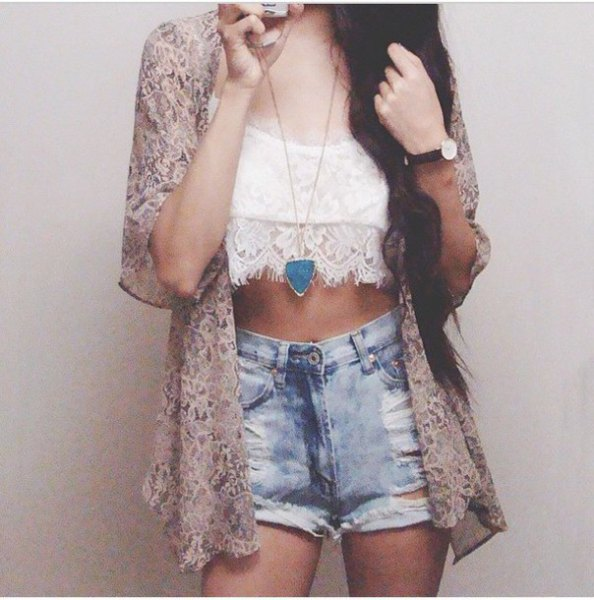 blushing pink lace cardigan with crop top and denim shorts