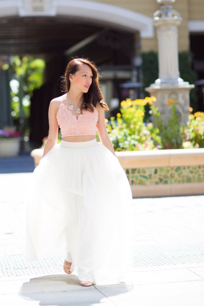 Blush the short pink lace camisole with the white long tulle skirt