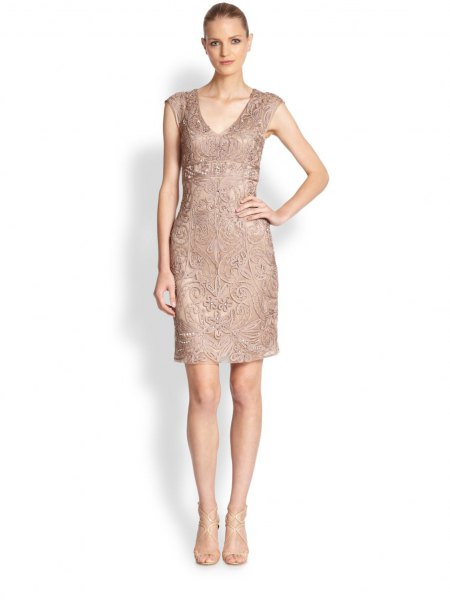 Blush Pink Lace Sleeveless Knee Length Cocktail Dress