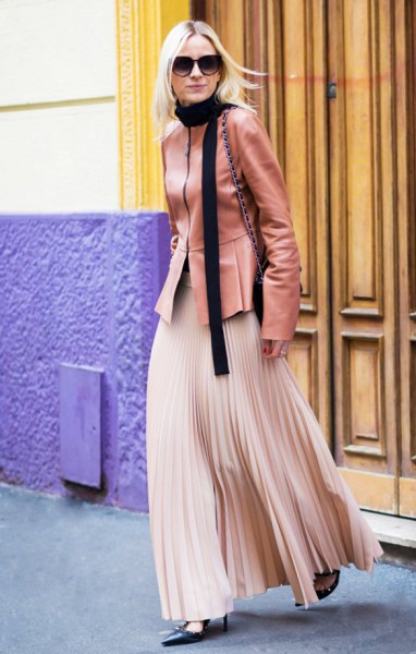 Rouge pink leather jacket with rose gold colored maxi pleated skirt