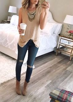 blush pink long tank top with boho style statement chain