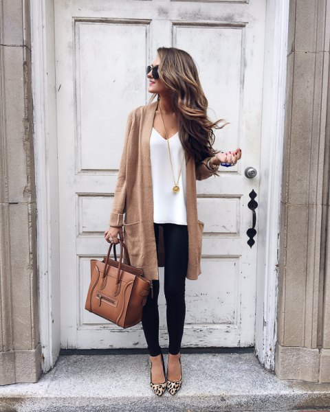blushing pink longline cardigan with white V-neck t-shirt and leopard heels