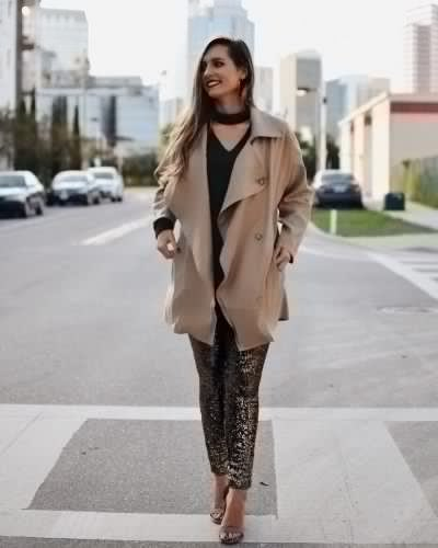 blushing pink longline trench coat with pantyhose with leopard print