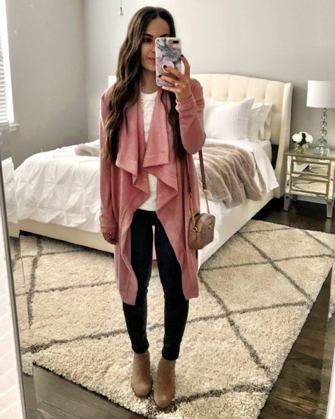 blush pink longline waterfall cardigan with black skinny jeans and camel boots