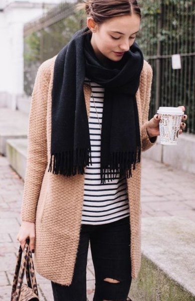 blushing pink longline wool coat with striped t-shirt and black scarf