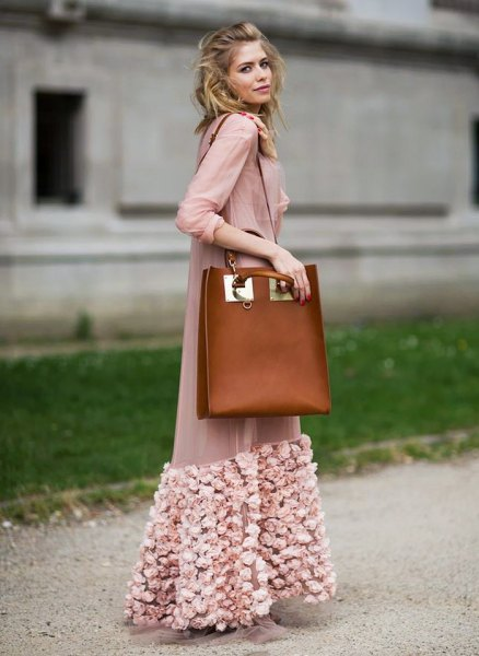 blushing pink maxi chiffon jacket with floral embroidery and brown leather shoulder bag