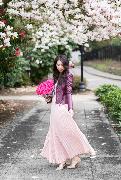 Rouge pink maxi pleated flared dress with black leather jacket