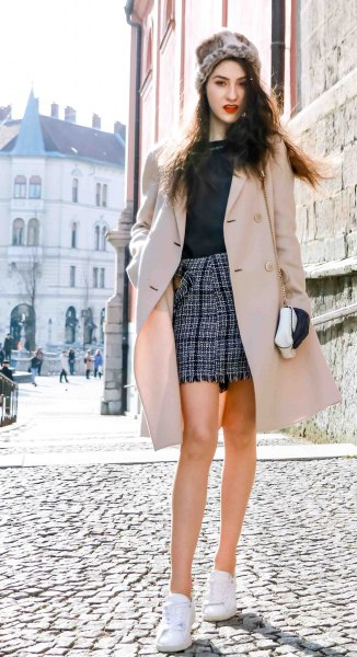 blushing pink midi wool coat with checked mini skirt