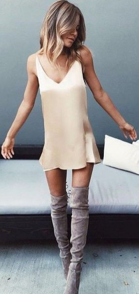 Blush Pink Mini Slip Dress With Gray Suede Over The Knee Boots