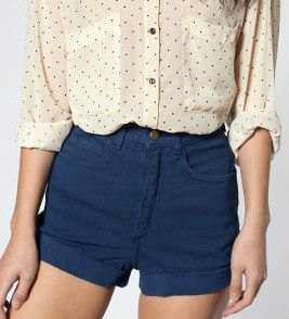 Blush pink polka dot shirt with marine stretch shorts