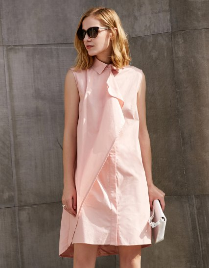 blush pink shirt dress