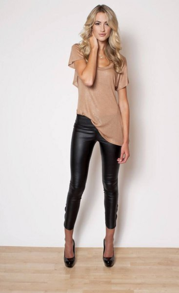 blush pink short-sleeved longline t-shirt with leather gaiters