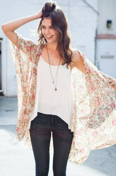 Blush pink short-sleeved transparent chiffon cardigan with dark blue skinny jeans