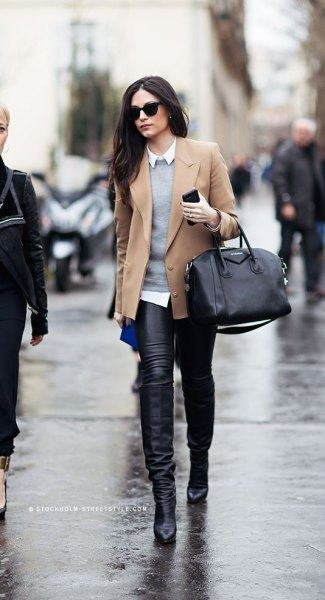 blushing pink wool blazer with gray sweater and leather pants