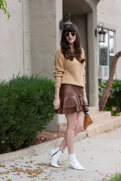 Rouge rib knit sweater with gray mini ruffle skirt