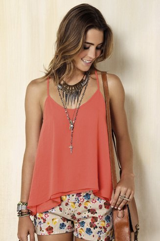 Rouge tank top with pale pink printed mini shorts
