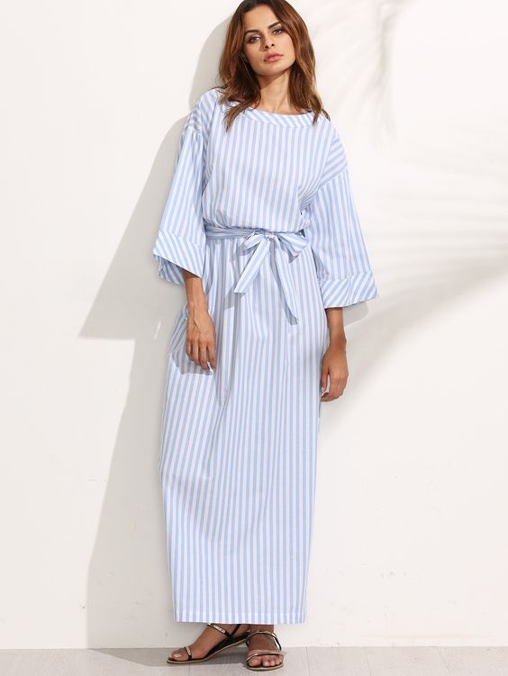 Blue striped submarine dress