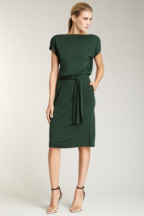 Boat neck dress emerald green