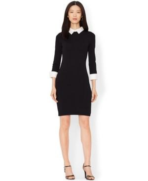 Bodycon knee-length black dress with a white collar and open toe heels