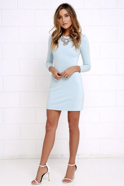 Bodycon mini light blue long sleeve dress with white open toe heels