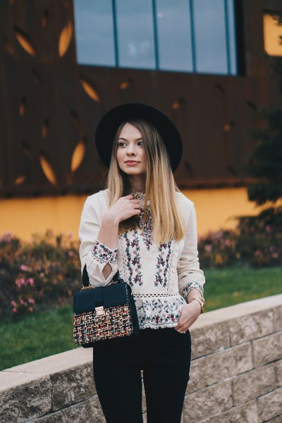Embroidered blouse felt hat in boho style