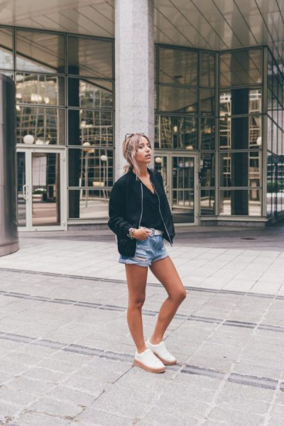 Bomber jacket jeans shorts outfit
